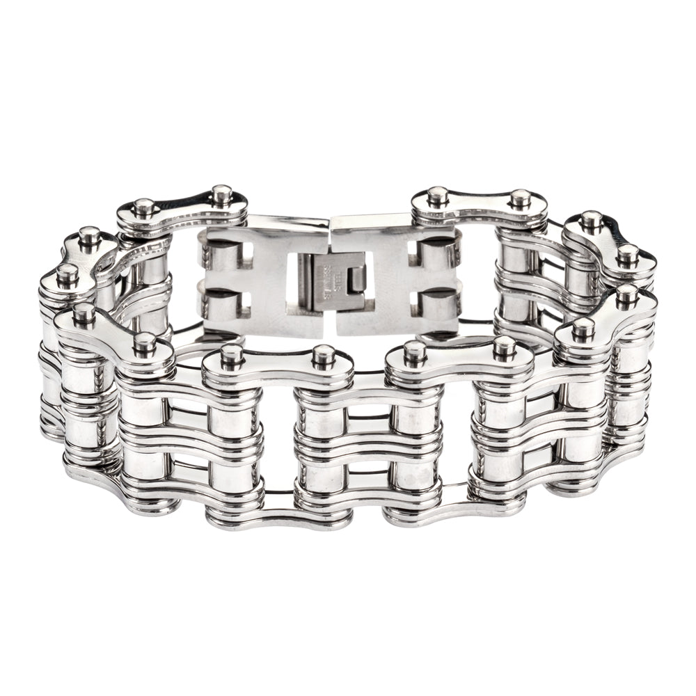 "SK1140 1"" Wide All Stainless Steel Unisex Stainless Steel Motorcycle Chain Bracelet"