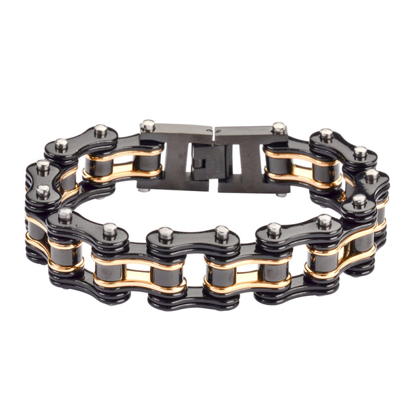"SK1155 Two Tone Black Gold 3/4"" Wide Double Link Design Unisex Stainless Steel Motorcycle Chain Bracelet"