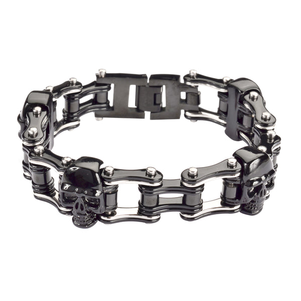 "SK1160 Two Tone Black Silver 3/4"" Wide With Skulls Unisex Stainless Steel Motorcycle Skull Chain Bracelet"