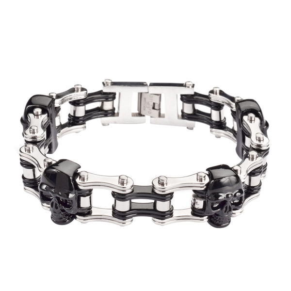 "SK1162 Two Tone Black Silver With Skulls 3/4"" Wide Double Link Design Unisex Stainless Steel Motorcycle Skull Chain Bracelet"