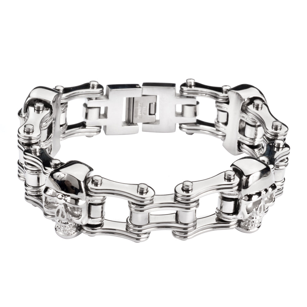 "SK1164 All Silver Tone Double Link Design 3/4"" Wide With Skulls Unisex ALL Stainless Steel Motorcycle Skull Chain Bracelet"