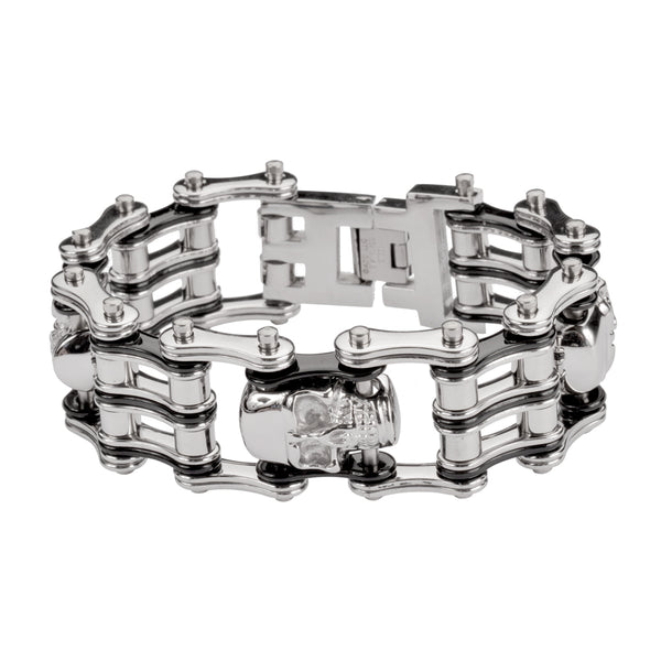 "SK1172 1"" Wide Two Tone Silver Black 4 Skulls Unisex Stainless Steel Motorcycle Chain Bracelet"