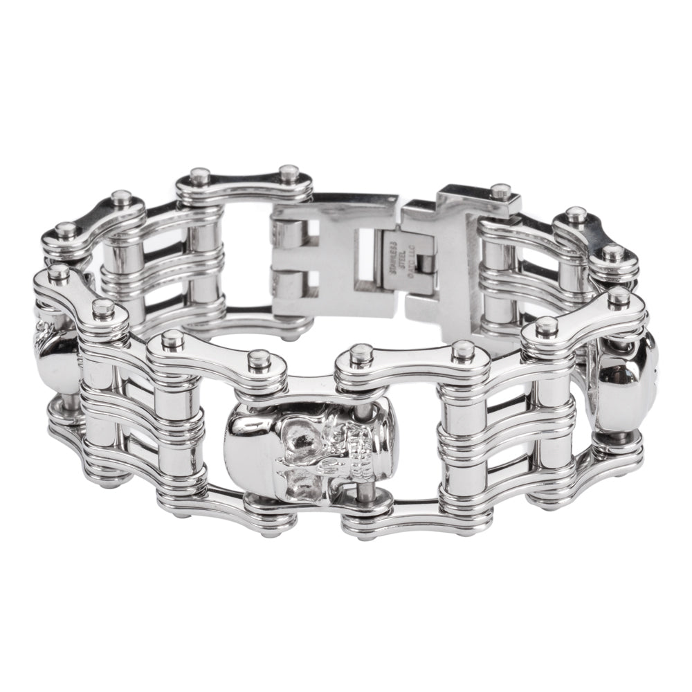 "SK1174 1"" Wide All Silver Tone With Skulls Unisex Stainless Steel Motorcycle Skull Chain Bracelet"