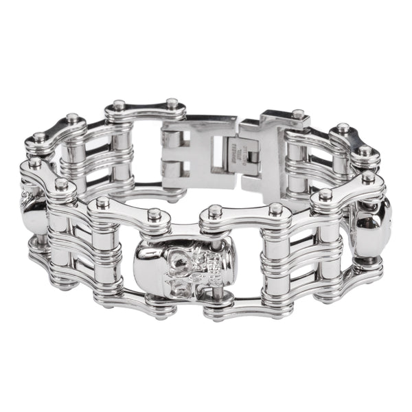 "SK1174 1"" Wide All Silver Tone 3 Skulls Unisex Stainless Steel Motorcycle Skull Chain Bracelet"