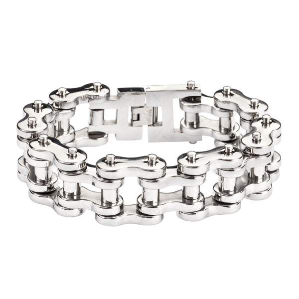"SK1177 All Stainless 1"" Wide THICK LINK Men's Stainless Steel Motorcycle Chain Bracelet"