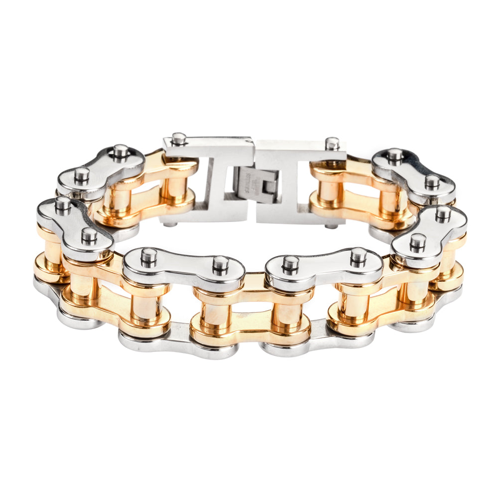 "SK1182 Stainless Gold Rollers 3/4"" Wide THICK LINK Men's Stainless Steel Motorcycle Chain Bracelet"