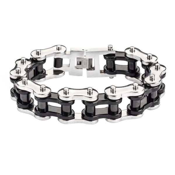 "SK1183 Stainless Black Rollers 3/4"" Wide THICK LINK Men's Stainless Steel Motorcycle Chain Bracelet"
