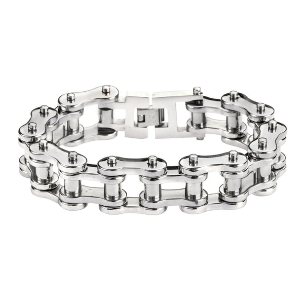 "SK1185 All Stainless 3/4"" Wide THICK LINK Men's Stainless Steel Motorcycle Chain Bracelet"