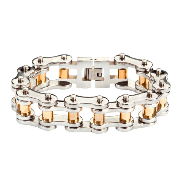 "SK1187 Stainless Gold Rollers 3/4"" Wide THICK LINK Men's Stainless Steel Motorcycle Chain Bracelet"