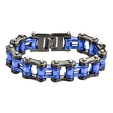"SK1188 Two Tone Black Blue Police Special 3/4"" Wide Double Link Design Unisex Stainless Steel Motorcycle Chain Bracelet"