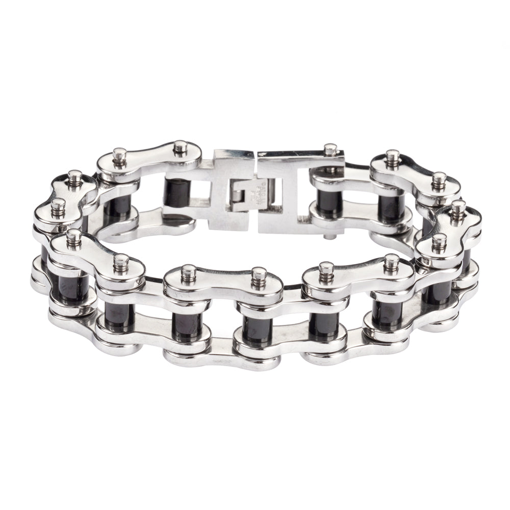 "SK1189 Stainless Black Rollers 3/4"" Wide THICK LINK Men's Stainless Steel Motorcycle Chain Bracelet"