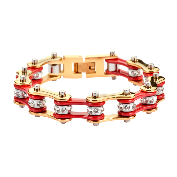 "SK1190 1/2"" Wide Two Tone Gold Red With White Crystal Centers Stainless Steel Motorcycle Bike Chain Bracelet"