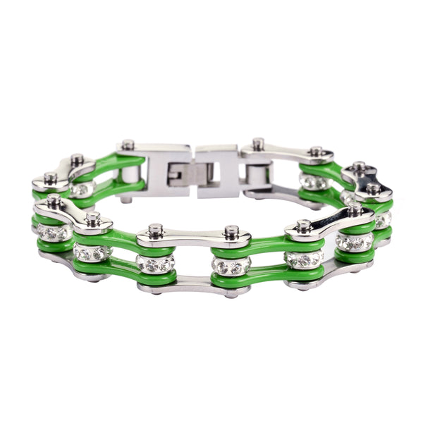 "SK1191 1/2"" Wide Two Tone Silver Green With White Crystal Centers Stainless Steel Motorcycle Bike Chain Bracelet"