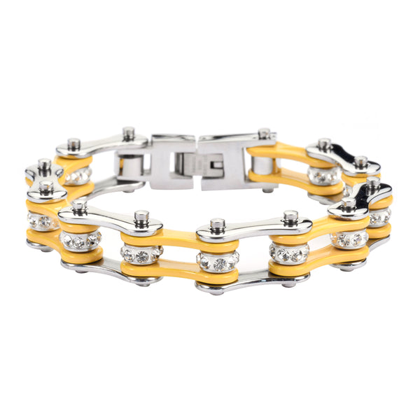 "SK1194 1/2"" Wide Two Tone Silver Yellow With White Crystal Centers Stainless Steel Motorcycle Bike Chain Bracelet"