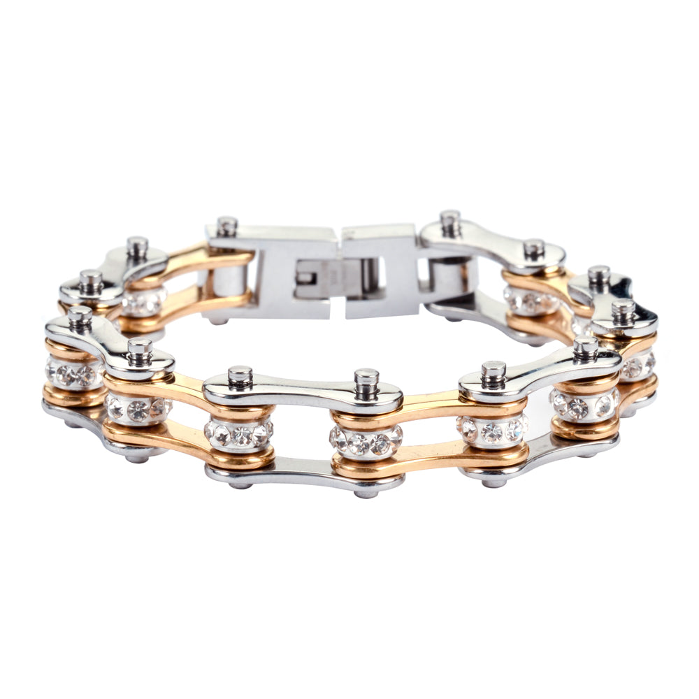 "SK1196 1/2"" Wide Two Tone Silver Gold With White Crystal Centers Stainless Steel Motorcycle Bike Chain Bracelet"