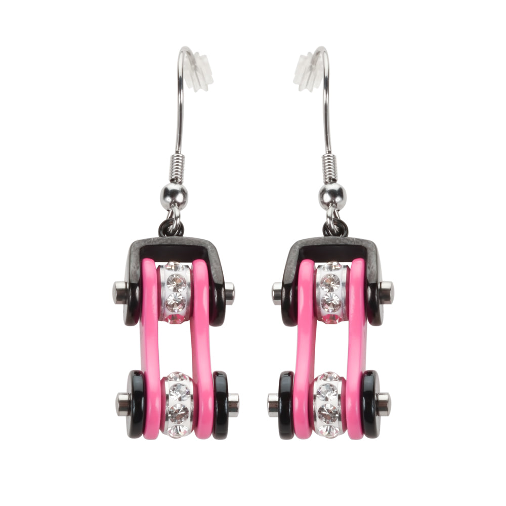 SK1197E  Two Tone Black Pink Silver Crystal Centers Bike Chain Earrings Stainless Steel Motorcycle Biker Jewelry