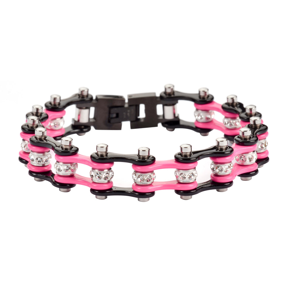 "SK1197 1/2"" Wide Two Tone Black Pink With White Crystal Centers Stainless Steel Motorcycle Bike Chain Bracelet"