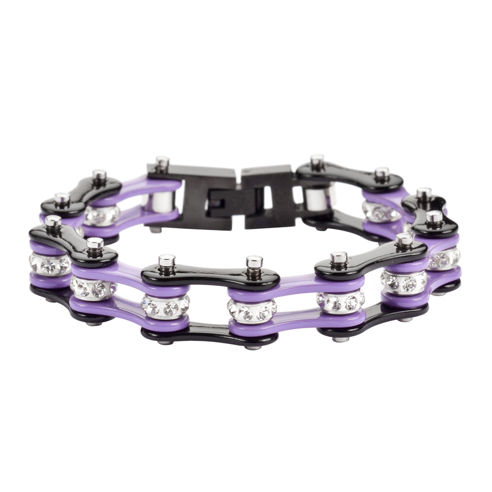 "SK1197S 1/2"" Wide Two Tone Black Violet With White Crystal Centers Stainless Steel Motorcycle Bike Chain Bracelet"