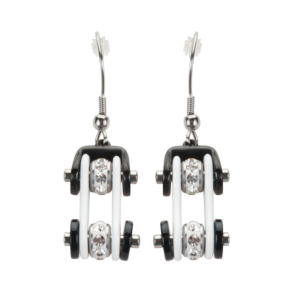 SK1198E  Two Tone White Black Silver Crystal Centers Bike Chain Earrings Stainless Steel Motorcycle Biker Jewelry