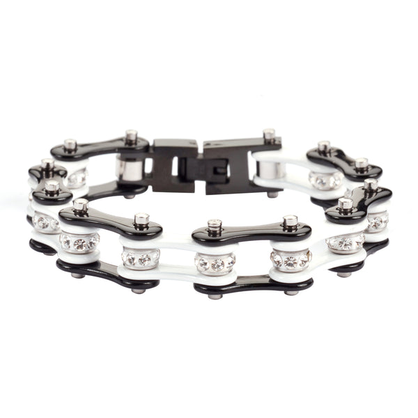 "SK1198 1/2"" Wide Two Tone Black White With White Crystal Rollers Stainless Steel Motorcycle Bike Chain Bracelet"