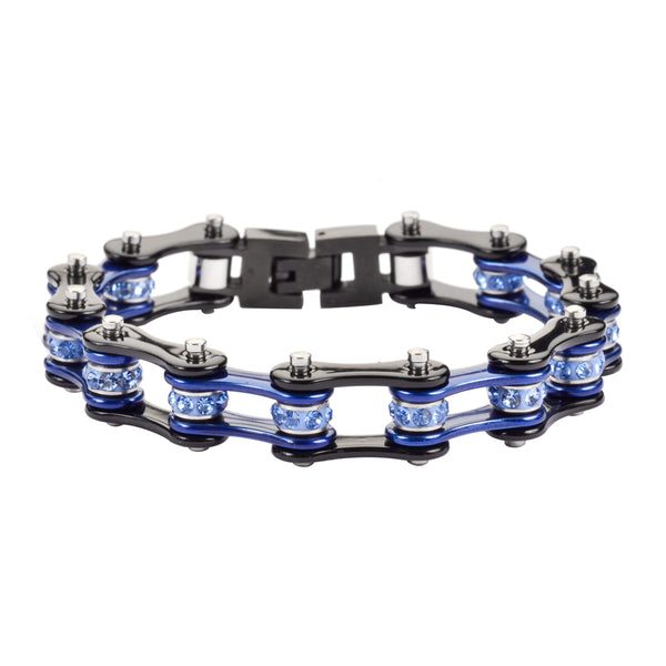 "SK1202 1/2"" Wide Two Tone Black Blue With Blue Crystal Centers Stainless Steel Motorcycle Bike Chain Bracelet"