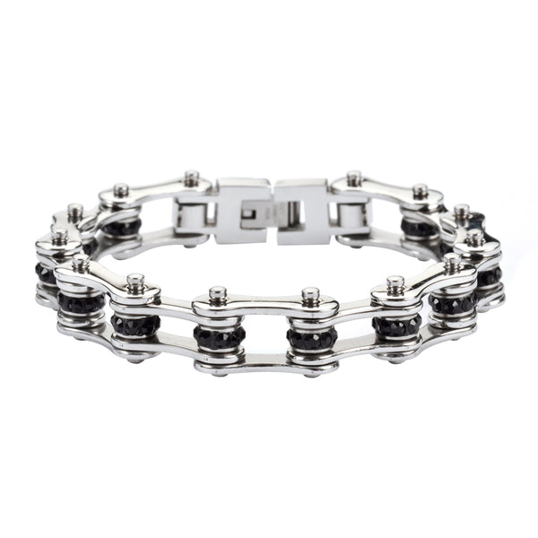 "SK1206 1/2"" Wide All Stainless With Black Crystal Centers Stainless Steel Motorcycle Bike Chain Bracelet"