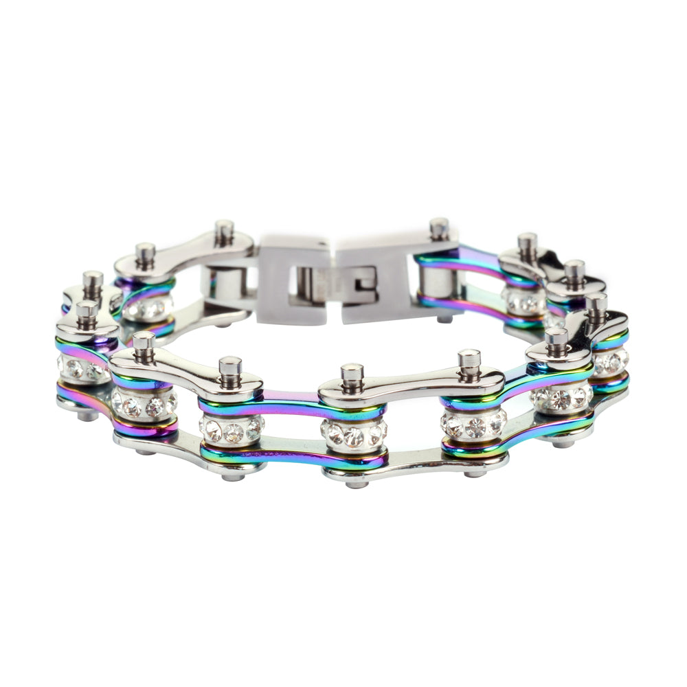 "SK1207 1/2"" Wide Two Tone Silver Rainbow With White Crystal Centers Stainless Steel Motorcycle Bike Chain Bracelet"