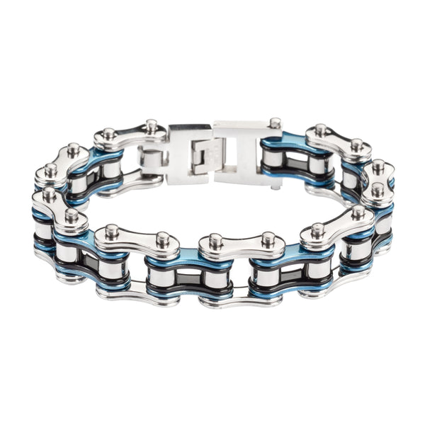 "SK1210 Tri-Color Silver Blue Black 3/4"" Wide Double Link Design Unisex Stainless Steel Motorcycle Chain Bracelet"