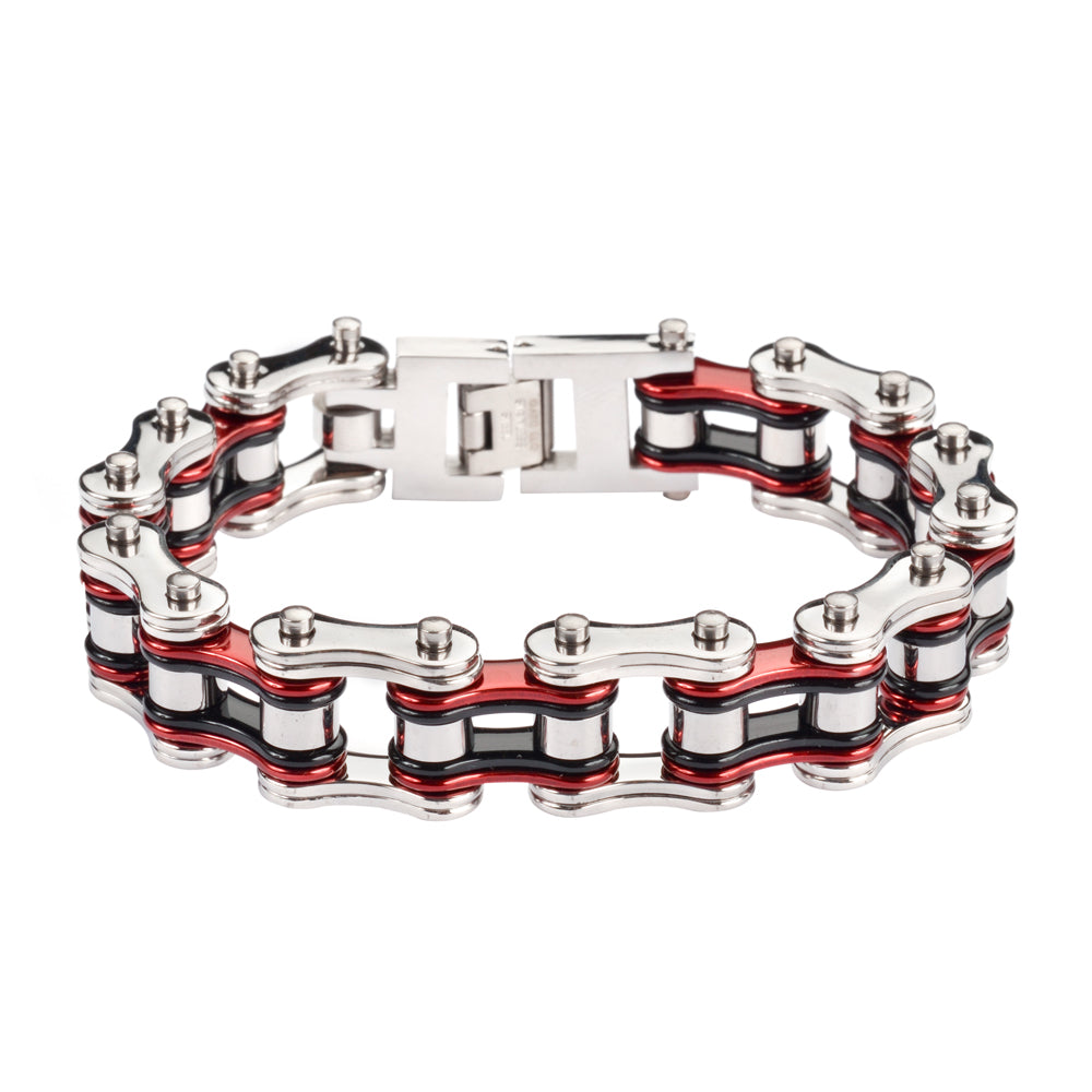 "SK1220 Tri-Color Silver Candy Red Black 3/4"" Wide Double Link Design Unisex Stainless Steel Motorcycle Chain Bracelet"