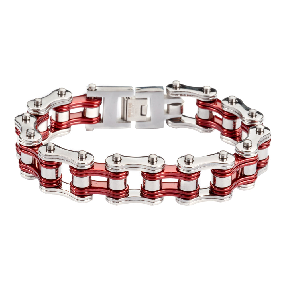 "SK1230 Two Tone Silver Candy Red 3/4"" Wide Double Link Design Unisex Stainless Steel Motorcycle Chain Bracelet"
