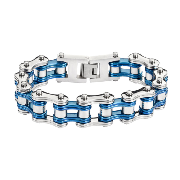 "SK1240 Two Tone Silver Candy Blue 3/4"" Wide Double Link Design Unisex Stainless Steel Motorcycle Chain Bracelet"
