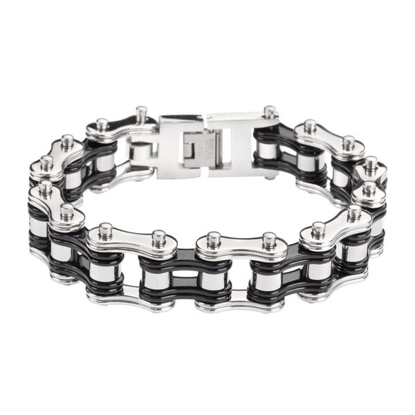 "SK1250 Two Tone Silver Black 3/4"" Wide Double Link Design Unisex Stainless Steel Motorcycle Chain Bracelet"