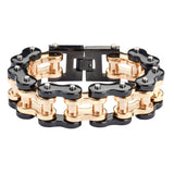 "SK1257 1"" Wide Black Gold THICK LINK Men's Stainless Steel Motorcycle Chain Bracelet"