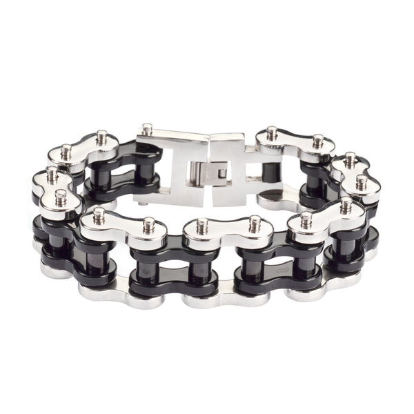 "SK1258 1"" Wide Silver Black THICK LINK Men's Stainless Steel Motorcycle Chain Bracelet"