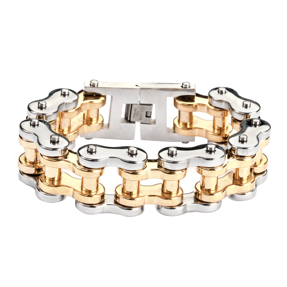 "SK1259 1"" Wide Silver Gold THICK LINK Men's Stainless Steel Motorcycle Chain Bracelet"
