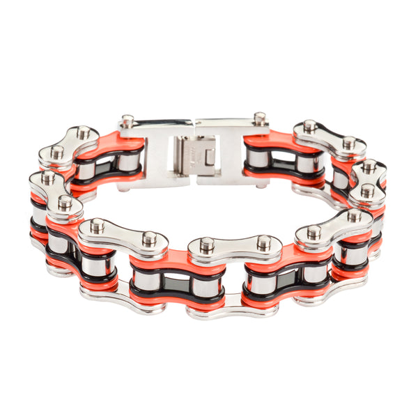 "SK1260 Tri-Color Silver Orange Black 3/4"" Wide Double Link Design Unisex Stainless Steel Motorcycle Chain Bracelet"