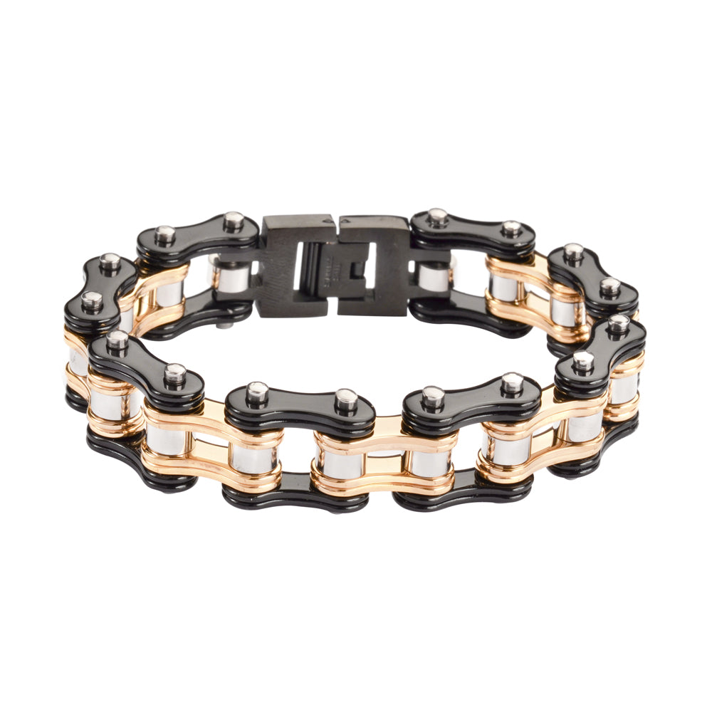 "SK1280 Two Tone Black Gold 3/4"" Wide Double Link Design Unisex Stainless Steel Motorcycle Chain Bracelet"