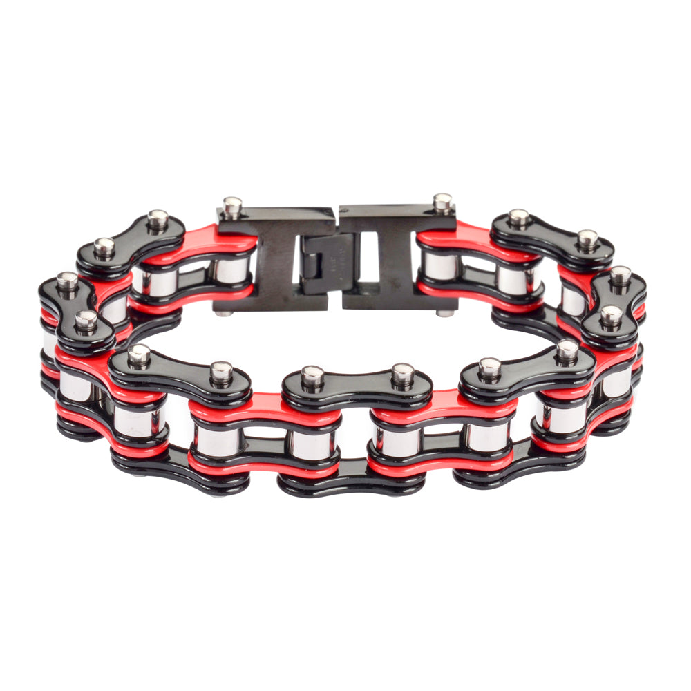 "SK1284 Tri Color Black Red Silver 3/4"" Wide Double Link Design Unisex Stainless Steel Motorcycle Chain Bracelet"
