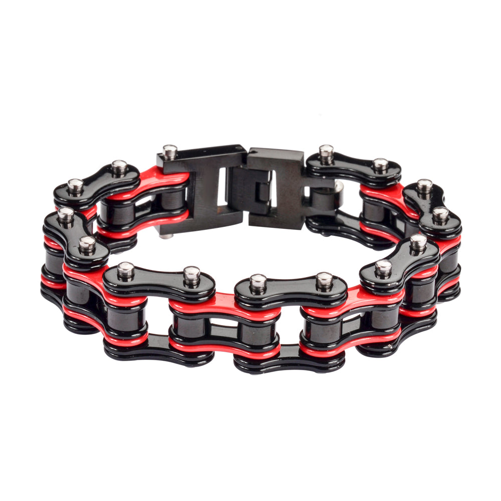 "SK1286 Two Tone 3/4"" Wide Black Red  Unisex Stainless Steel Motorcycle Chain Bracelet"