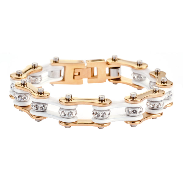 "SK1290 1/2"" Wide Two Tone Gold White With White Crystal Centers Stainless Steel Motorcycle Bike Chain Bracelet"