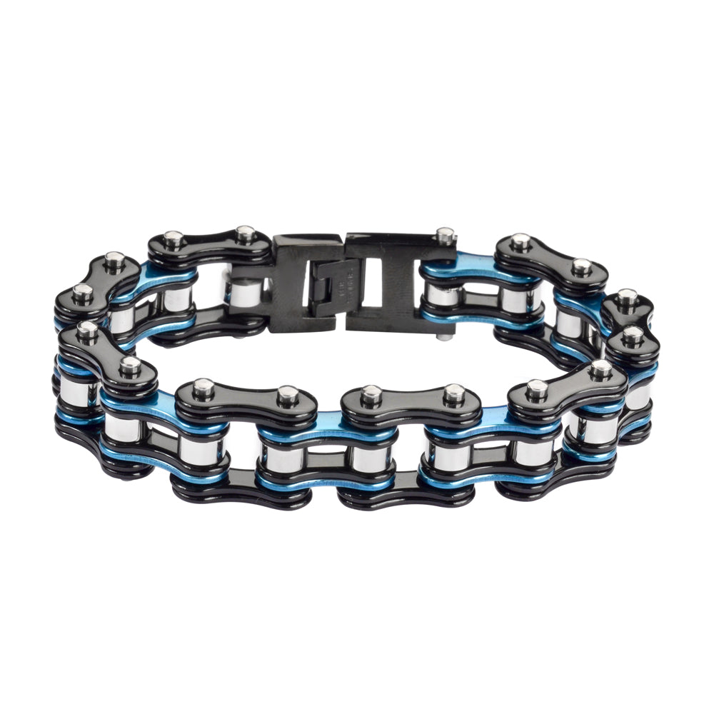 "SK1291 Tri-Color Black Blue Silver 3/4"" Wide Double Link Design Unisex Stainless Steel Motorcycle Chain Bracelet"