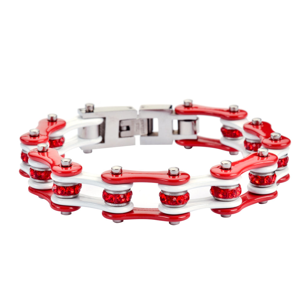 "SK1292 1/2"" Wide Two Tone Red White With Red Crystal Centers Stainless Steel Motorcycle Bike Chain Bracelet"