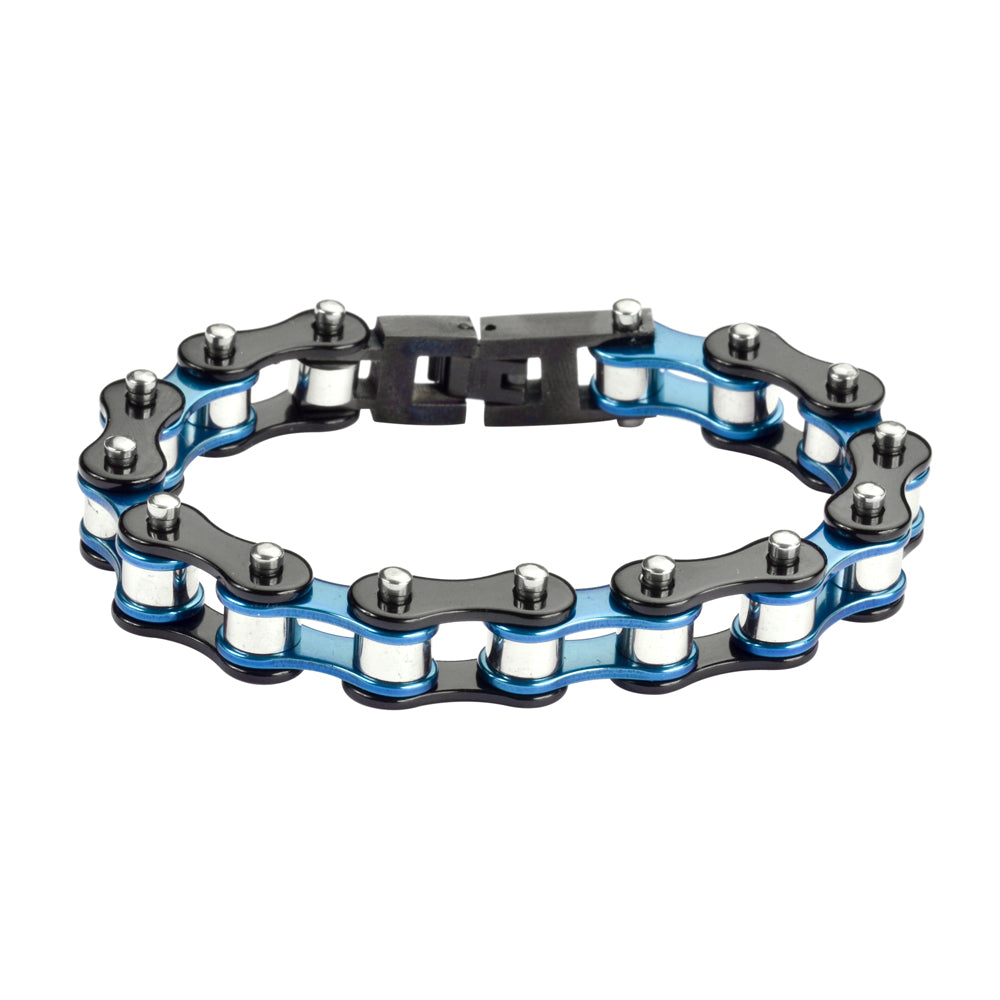 "SK1293 1/2"" Wide Tri-Color Blue Black Silver Original Design Stainless Steel Motorcycle Bike Chain Bracelet"
