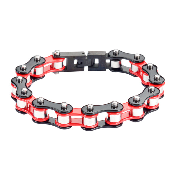 "SK1294 1/2"" Wide Tri-Color Black Red Silver Original Design Stainless Steel Motorcycle Bike Chain Bracelet"