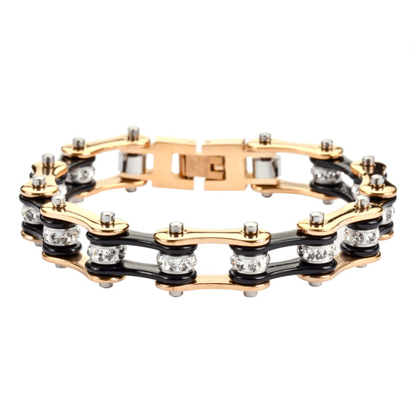 "SK1295 1/2"" Wide Two Tone Gold Black With White Crystal Centers Stainless Steel Motorcycle Bike Chain Bracelet"