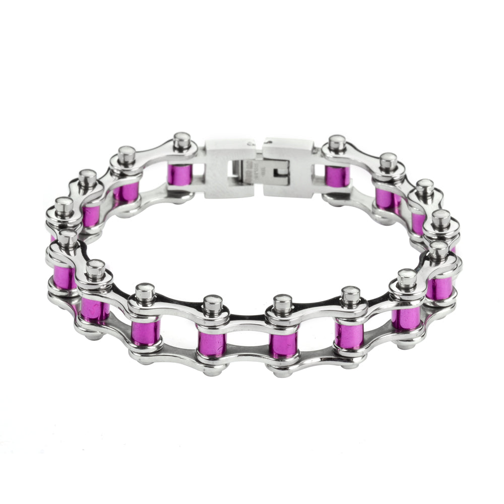 "SK1296 1/2"" Wide All Stainless Steel Purple Candy Rollers Stainless Steel Motorcycle Bike Chain Bracelet"