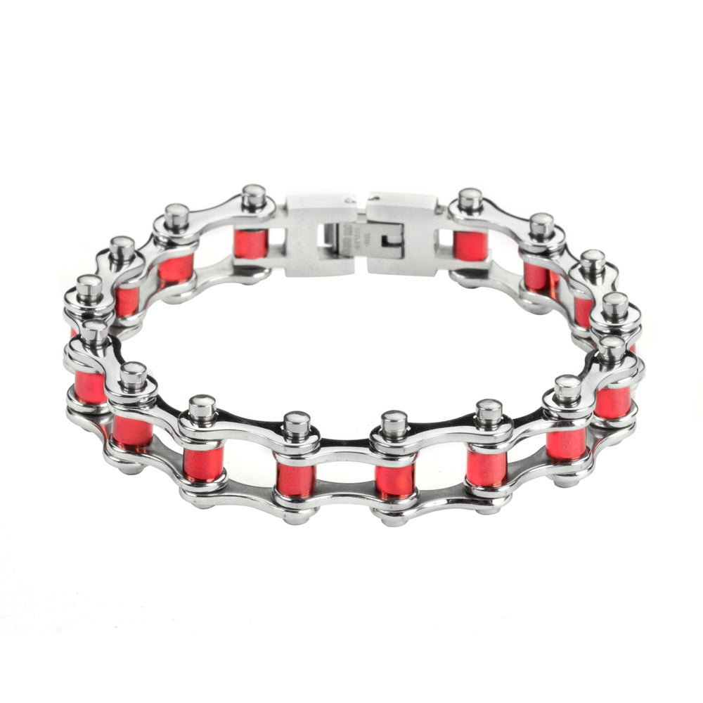 "SK1298 1/2"" Wide All Stainless Steel With Red Rollers Stainless Steel Motorcycle Bike Chain Bracelet"