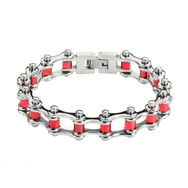 "SK1298 1/2"" Wide All Stainless Steel Red Rollers Stainless Steel Motorcycle Bike Chain Bracelet"
