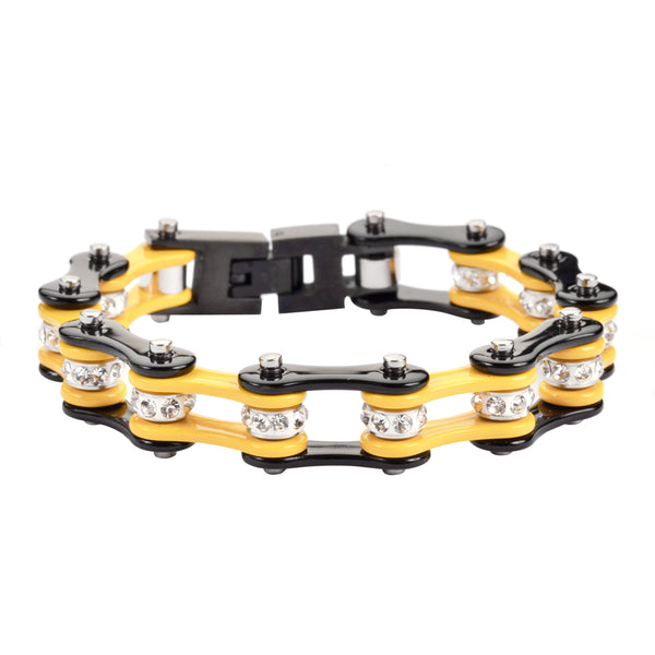 "SK1299 1/2"" Wide Two Tone Black Yellow With White Crystal Rollers Stainless Steel Motorcycle Bike Chain Bracelet"