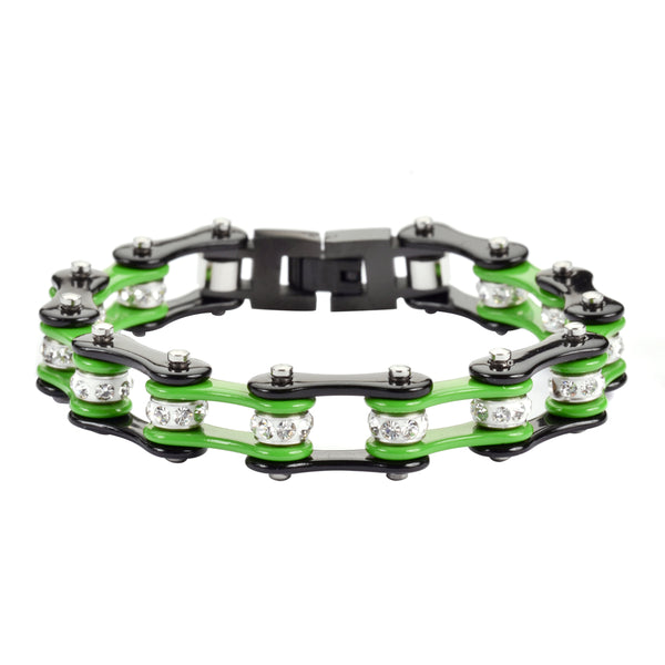 "SK1300 1/2"" Wide Two Tone Black Green With White Crystal Rollers Stainless Steel Motorcycle Bike Chain Bracelet"
